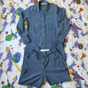 VTG 90s Powder Blue Faux Suede Two Piece Outfit